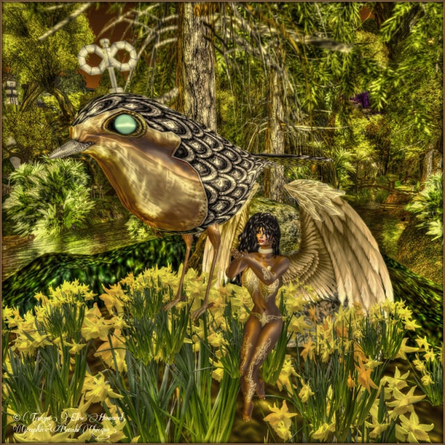 Free To Fly ~ Pose:  Playful Fairy by exposeur ~ Angel Ensemble : Golden Glide Fairy by Bambi Chicque