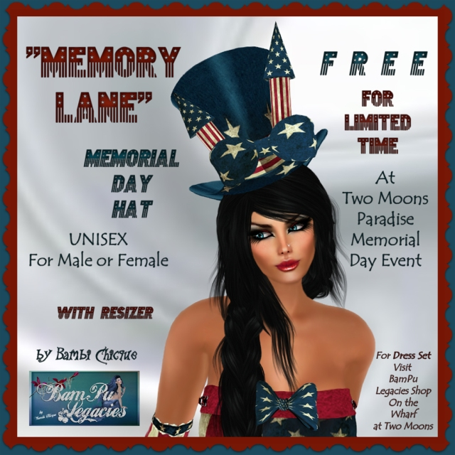 Memory Lane Firecracker Hat for Memorial Day ~ Free for Limited Time At Two Moons Paradise