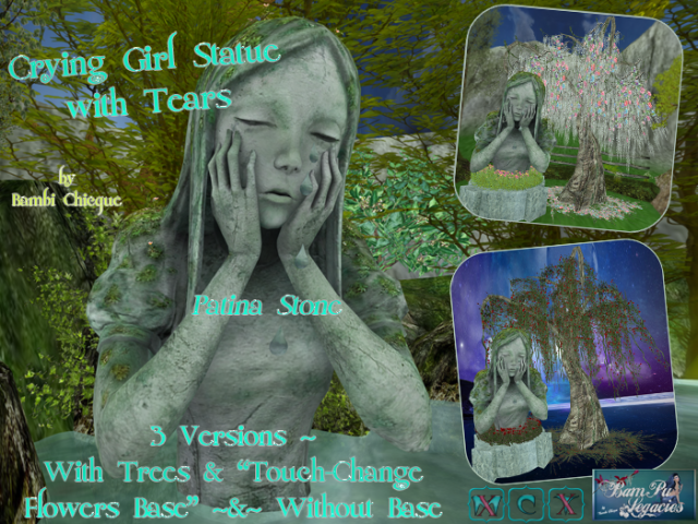 Channing CRYING GIRL STATUE with Tears & Trees & Florals