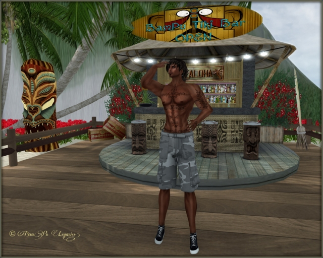 BamPu Tiki Bar ~ Blade Modeling Grumble Cargo Pants from $10L Weekend Sale!
