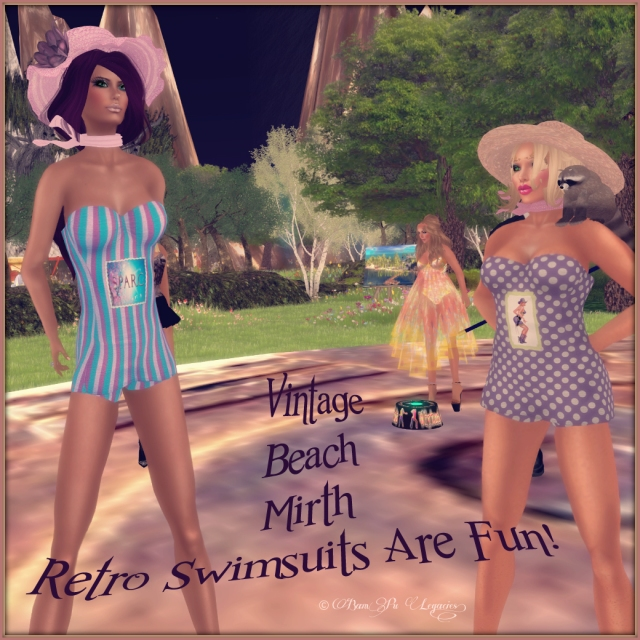 Vian and I modeling a couple of my Vintage Beach Mirth Swimsuits