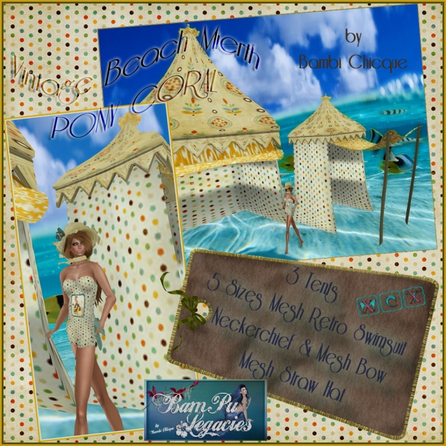 Vintage Beach Mirth ~ Pony Coral