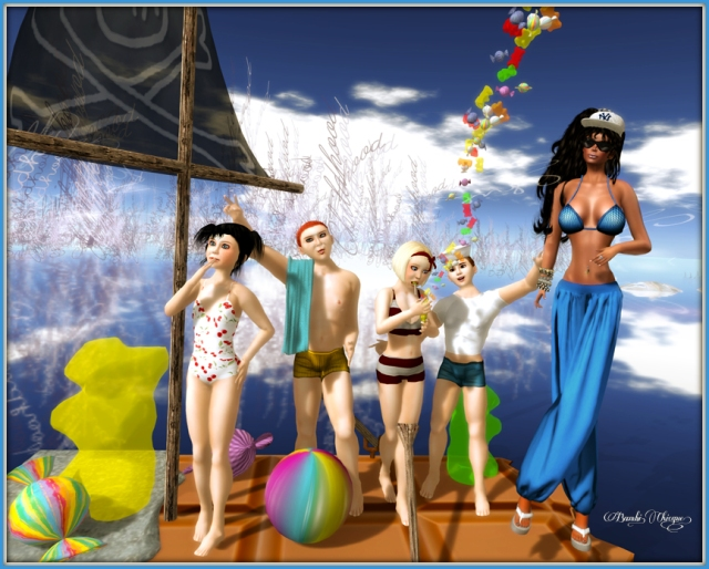 Hollywood Summer ~ Mesh Blue Net Summer Complete Outfit by Hollywood!
