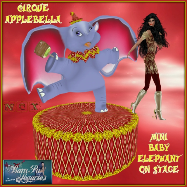 Cirque Applebella ~ Baby Elephant Statue on Mini Stage & Holding Candy Apple!