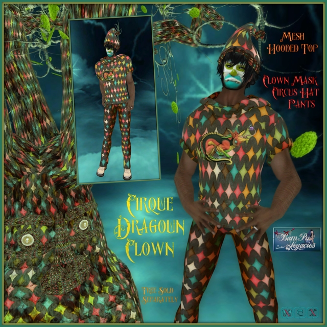 Cirque Dragoun - Male Mesh Hooded Shirt & Outfit Set