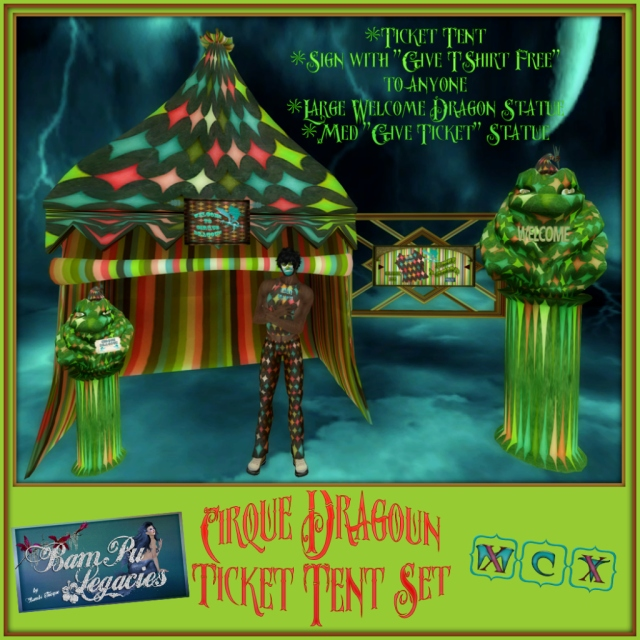 "Cirque Dragoun Ticket Tent Set ~ Dragon ""GIVES CIRCUS TICKET"" & Picture ""GIVES FREE T-SHIRT"" To Anyone!"