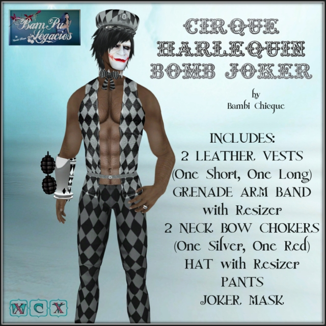Cirque Harlequin Bomb Joker Male or Female Set with Grenade Arm Band, Mask & Hat