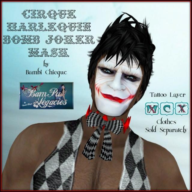 Cirque Harlequin Bomb Joker Mask