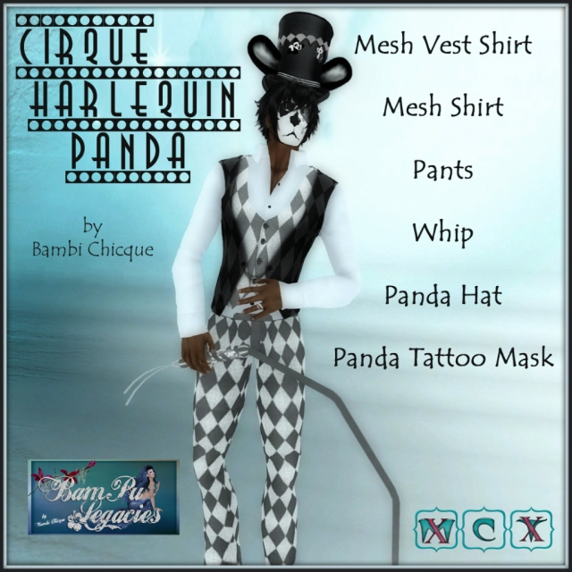 Cirque Harlequin Panda ~ Male Mesh Formal Vest Set with Whip, Hat & Mask