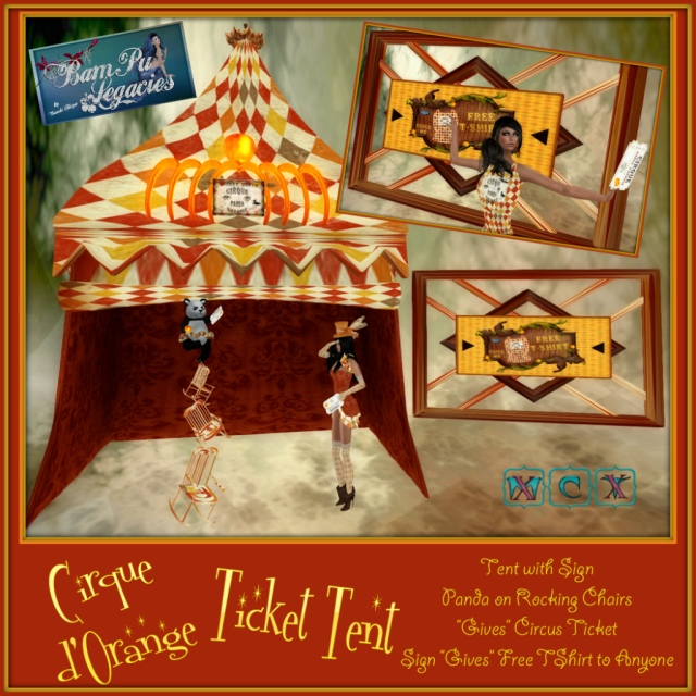 "Cirque Panda d'Orange ""Ticket Tent"" Set - Panda GIVES Circus Ticket ~ Picture GIVES Free T-Shirt"