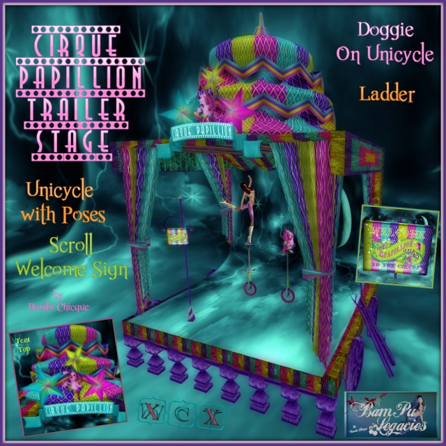Cirque Papillion Trailer Stage Set ~ With Doggie On Unicycle, Ladder, Pose Unicycle and Welcome Sign Scroll