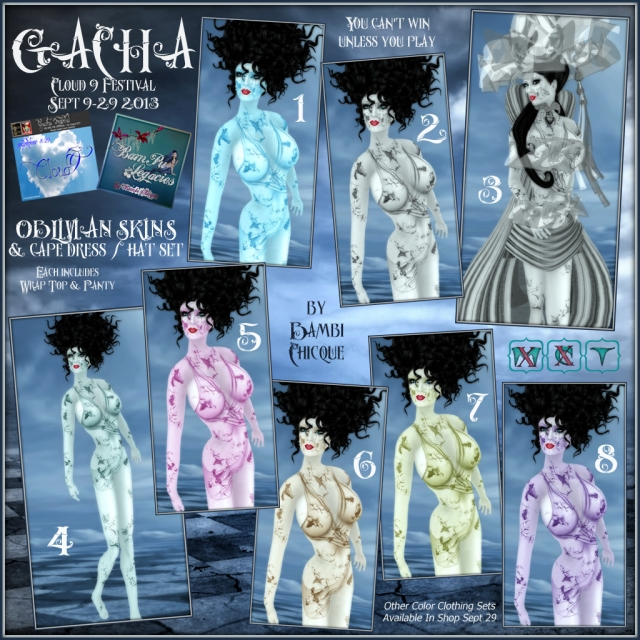 GACHA ~ Cloud 9 Festival Sept 9 thru 29, 2013 ~ OBLIVIAN SKINS