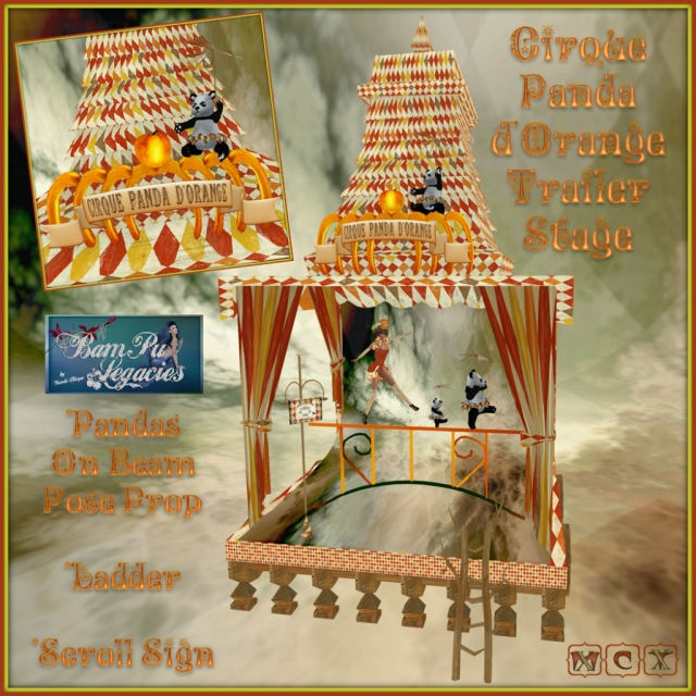 "Cirque Panda d'Orange ""Trailer Stage"" Set with Pose Balance Beam"