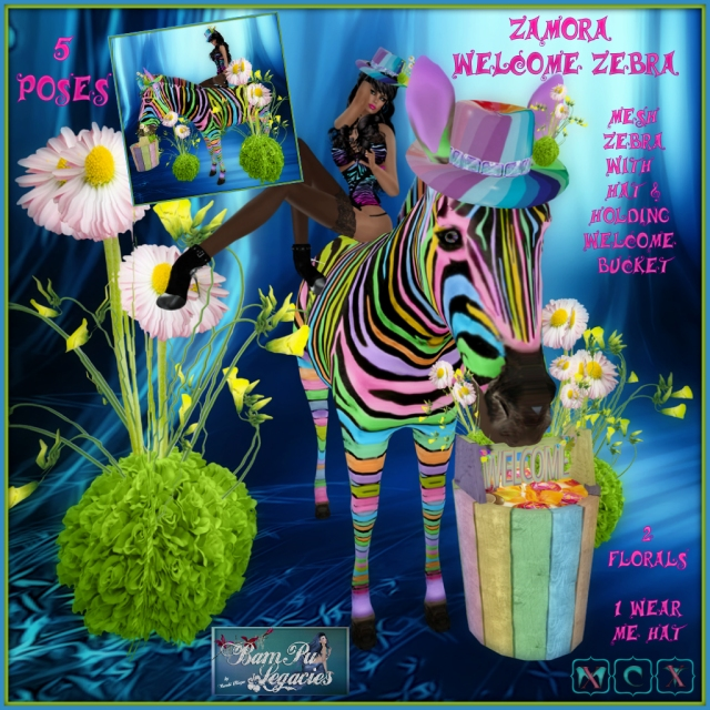 Zamora Welcome Rainbow Zebra Set with Poses & Plants