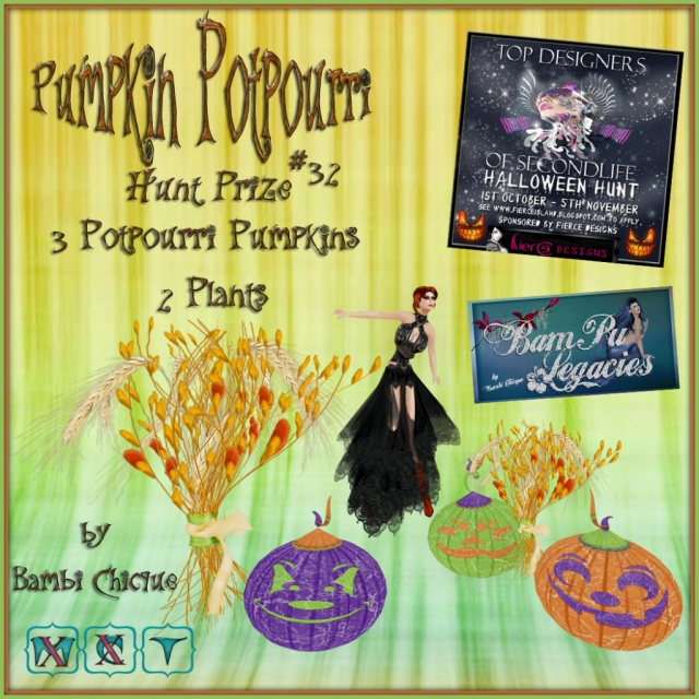 Pumpkin Potpourri ~ TOP DESIGNERS OF SECONDLIFE HUNT PRIZE #32