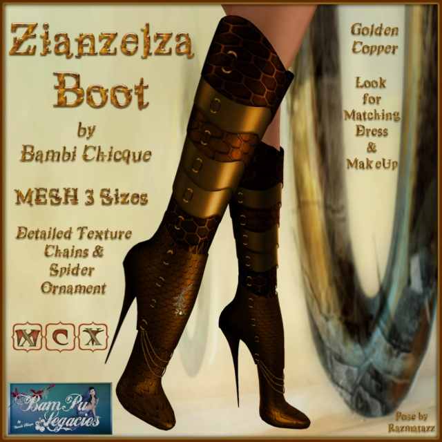 Zianzelza Witch Goth Boot ~ Golden Copper ~ 3 Sizes!