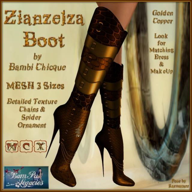 Zianzelza Witch Goth Boot ~ Golden Copper ~ 3 Sizes!