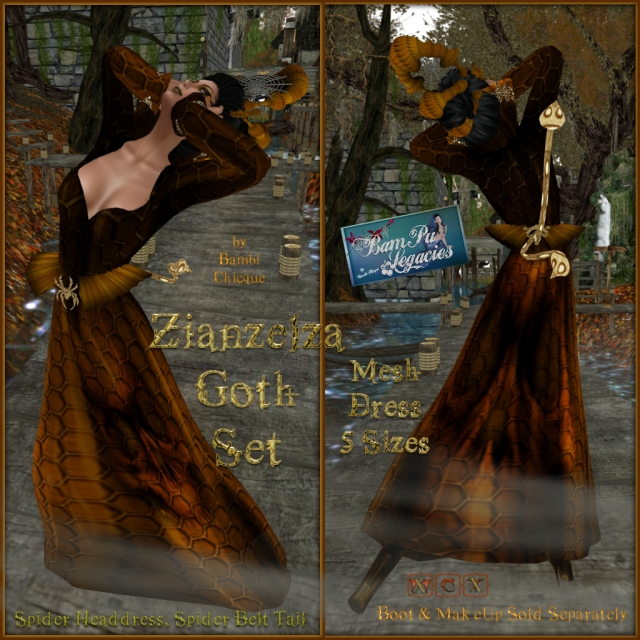 Zianzelza Witch Goth Mesh Dress Set ~ With HeadDress & Spider/Tails Belt