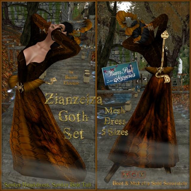 Zianzelza Witch Goth Mesh Dress Set ~ With HeadDress & Spider/Tails Belt