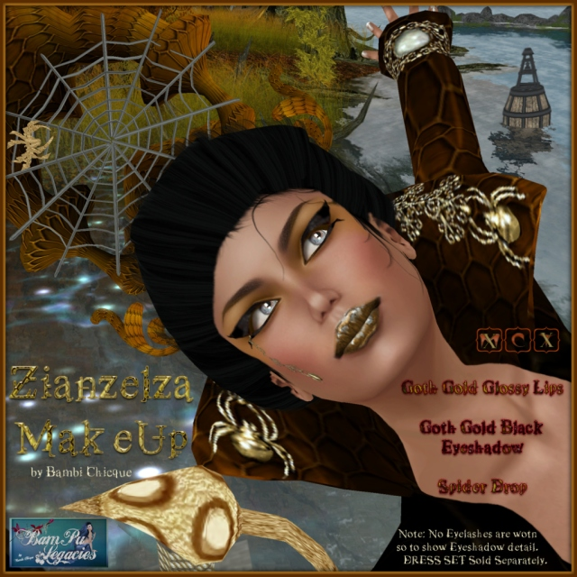 Zianzelza Witch Goth Golden MakeUp ~ With Spider & Luscious Glossy Lips & Eyeshadow with Eyeliner
