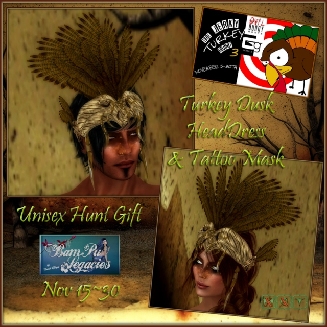 Turkey Dusk Headdress & Mask Tattoo ~Unisex