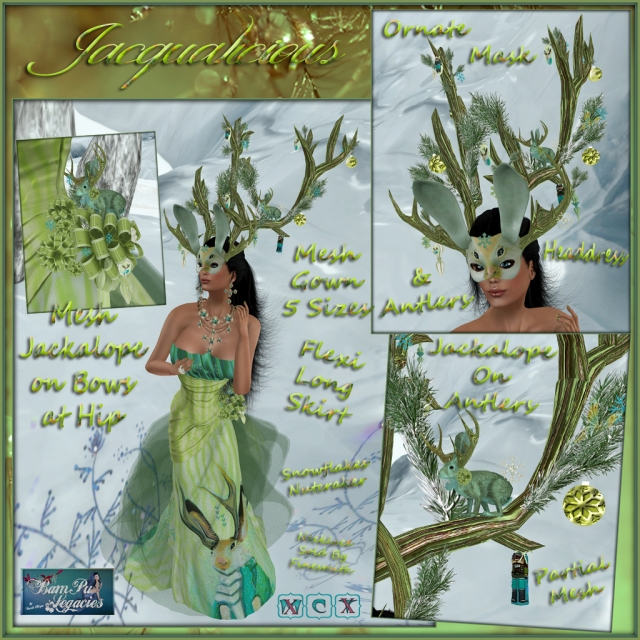 JACQUALICIOUS MESH GOWN & JACKALOPE HEADDRESS