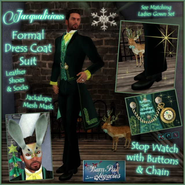 JACQUALICIOUS MEN'S FORMAL COAT SUIT &  JACKALOPE MASK