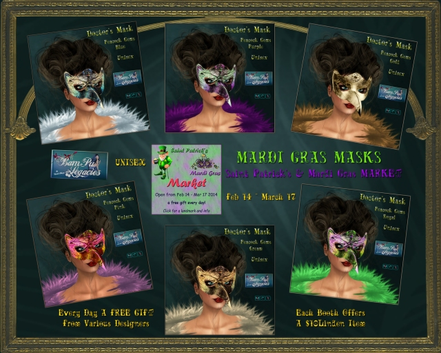 "Mardi Gras Doctor's Masks ~ ""Peacock Gems"" by Bambi Chicque"