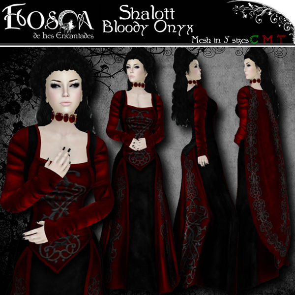 Shalott Bloody Onyx Gown & Cape by Les Encantades