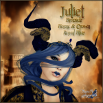BC~Juliet Brocade Horns & Crown Royal BlueAD