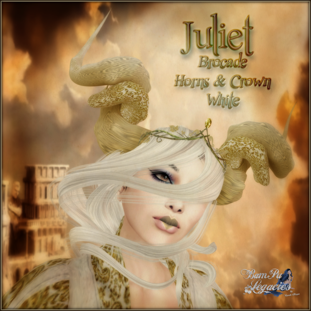 BC~Juliet Brocade Horns & Crown White AD