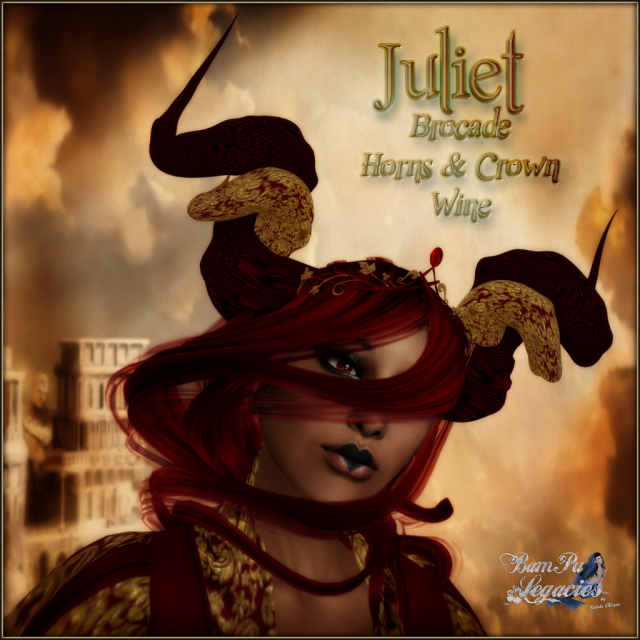 BC~Juliet Brocade Horns & Crown Merlot AD