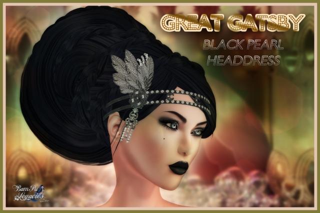 """Great Gatsby Black Pearl Headdress"" by Bambi Chicque"