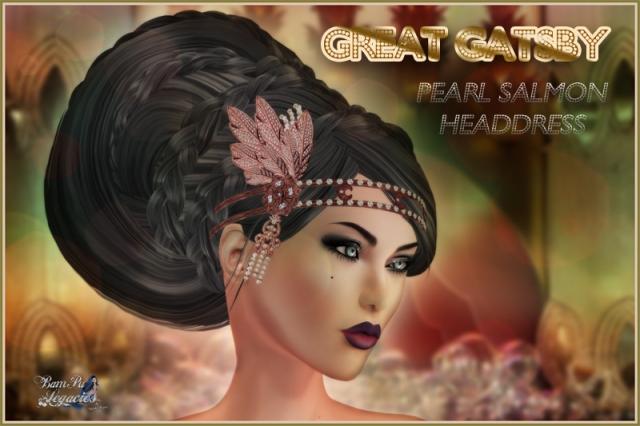 """Great Gatsby Pearl Salmon Headdress"" by Bambi Chicque"