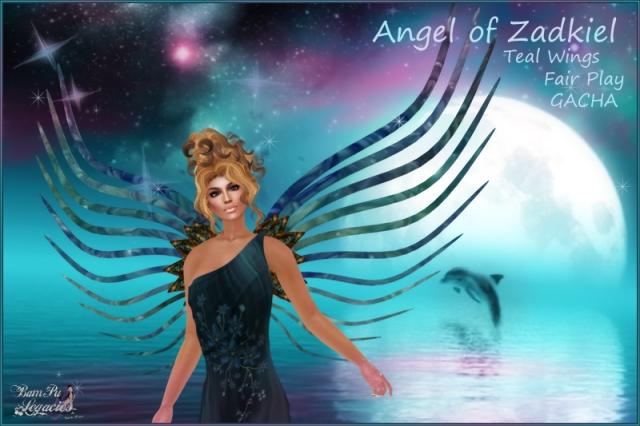 Angel of Zadkiel Teal Crystal Wings
