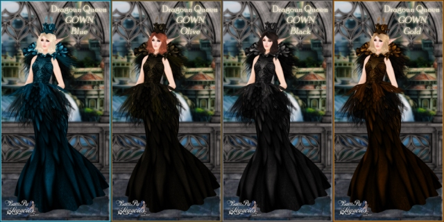 Dragoun Queen Gowns 4 Colors