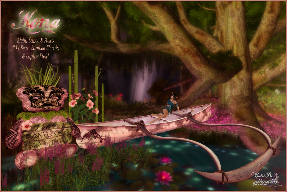 KONA CANOE POSES & Bamboo, Floral, Tiki Bear