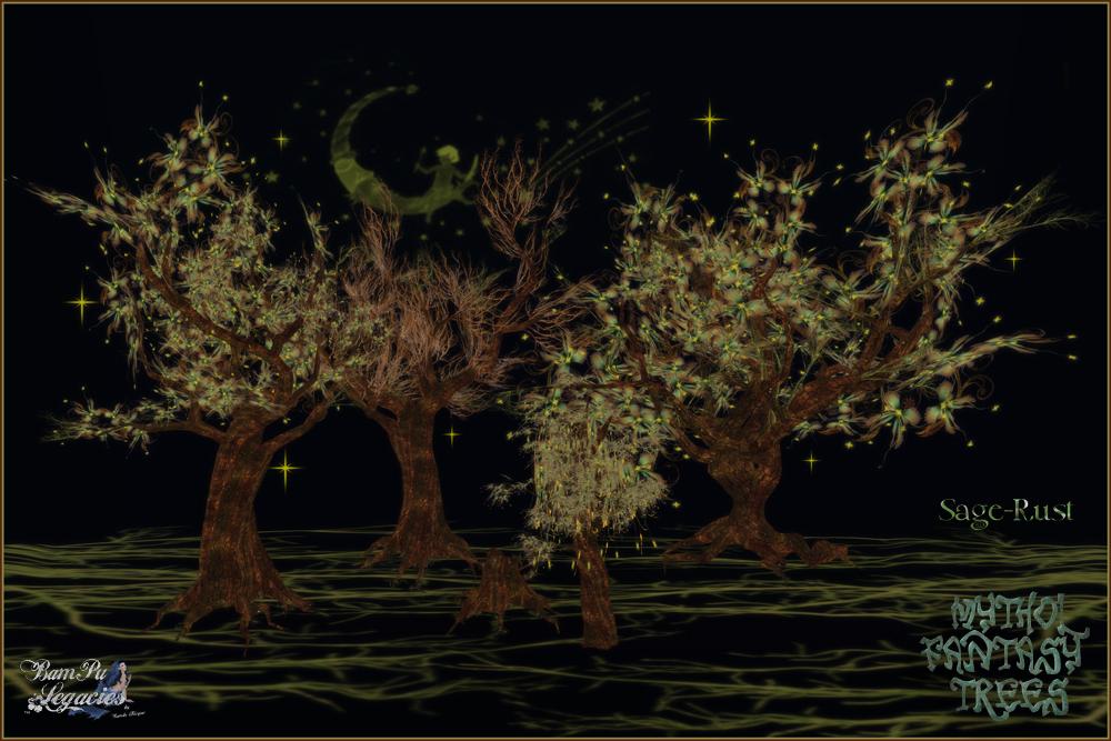 Mythol Fantasy Trees & Stump Sage-Rust